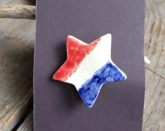 Flag Brooch, Flag Pin, Stocking Stuffer, 4th of July Jewelry, Memorial Day Jewelry, Patriotic Jewelry, Handmade Ceramic Flag Star Pin