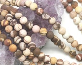 Lot of 5 strands 6mm Matte Brown Zebra Jasper Loose Spacer Beads Round 15.5 inch strand (BD5700)