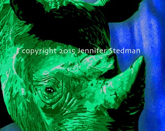Rhino artwork print, green and blue, kid room