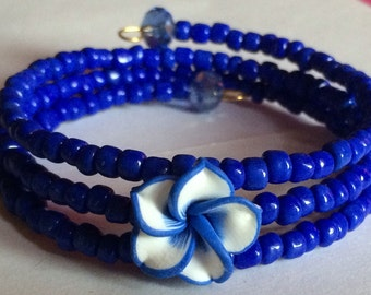 "Colorful ""Bright Blue Hue"" Beaded Memory Wire Bracelet"