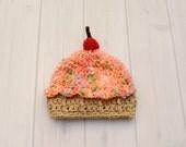 Crocheted Cupcake Baby Hat, Baby Girl Hat, Crochet Baby Birthday Hat, Cupcake Baby Clothes, Newborn Baby Photo Prop Hat
