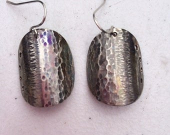 Tribal shield hammered and engraved earrings