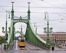 Yellow Tram Photography, Budapest Art, Liberty Bridge Art, Hungary, Travel Photography, Fun Print, Pretty Europe Photograph, Street Car