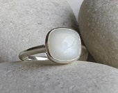 White Moonstone Stackable Ring- Square Shaped Moonstone Ring- June Birthstone Silver Ring- Smooth Sterling Silver Ring- White Gemstone Ring