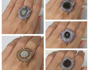 Raw Slice Stalactite Ring- Unique Statement Silver Ring- Geode Rock Crystal Ring- Chunky Gemstone Prong Ring- Unique Gifts for Her
