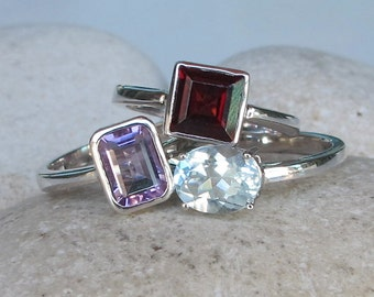 December February January Ring- Stackable Birthstone Ring- Family Gemstone Ring- Amethyst Blue Topaz Garnet Ring- Sterling Silver Moms Ring