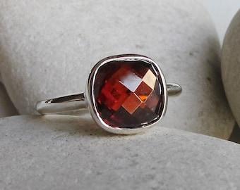 Garnet Ring- January Birthstone Ring- Gemstone Rings- Stone Ring- Statement Ring- Red Stone Ring- Jewel Ring- Silver Ring