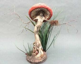 CUSTOM MADE  to  Order- ooak fairy  mushroom pixie art doll sculpture dryad tree spirit woman miniature cicada wings ladybug