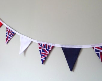 Mini union jack bunting, British banner, patriotic bunting, red white and blue
