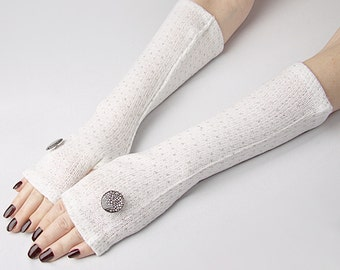 White Winter Arm Warmers, Fingerless Gloves with Silver  Buttons -  Texting Gloves,  Hand Warmers, Mitts, Arm Gloves, Gloves, Arm Sleeves