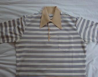 Vintage Edwards of California Men's Knit Striped 1960s Polo Shirt. Men's Large.