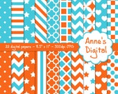 "Orange and Aqua Digital Papers - Matching Solids Included - 22 Papers - 8.5"" x 11"" - Instant Download - Commercial Use (010)"