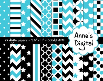 """Black and Aqua Digital Papers - Matching Solids Included - 22 Papers - 8.5"""" x 11"""" - Instant Download - Commercial Use  (007)"""