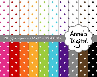 """Small Polka Dot Digital Papers - Matching Solids Included - 30 Papers - 8.5"""" x 11"""" - Instant Download - Commercial Use (039)"""