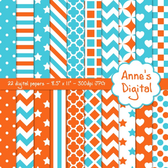 """Orange and Aqua Digital Papers - Matching Solids Included - 22 Papers - 8.5"""" x 11"""" - Instant Download - Commercial Use (010)"""