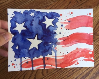 ORIGINAL American Flag Abstract Watercolor Painting, Stars and Stripes Red White and Blue Art 5x7