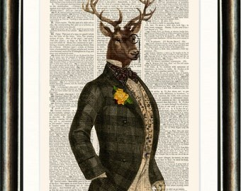 Dandy Stag  - vintage image printed on an Antique Dictionary Page Buy 3 get 1 FREE