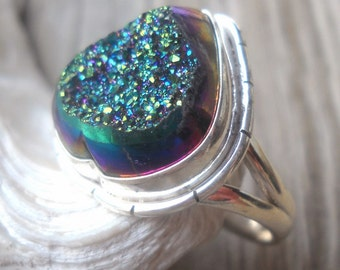 Titanium Druzy Ring 925 Sterling Silver