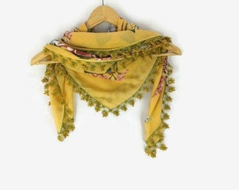 Turkish Oya scarf - Mustard Yellow  - Crochet Flower Edges - Square Headscarf -  Turban Headwrap