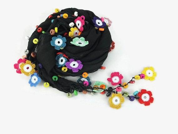Cotton black Scarf ,  Womens foulard ,  Cowl with crochet oya flowers and wooden beads ,  black scarflette , gift ideas, black foulard