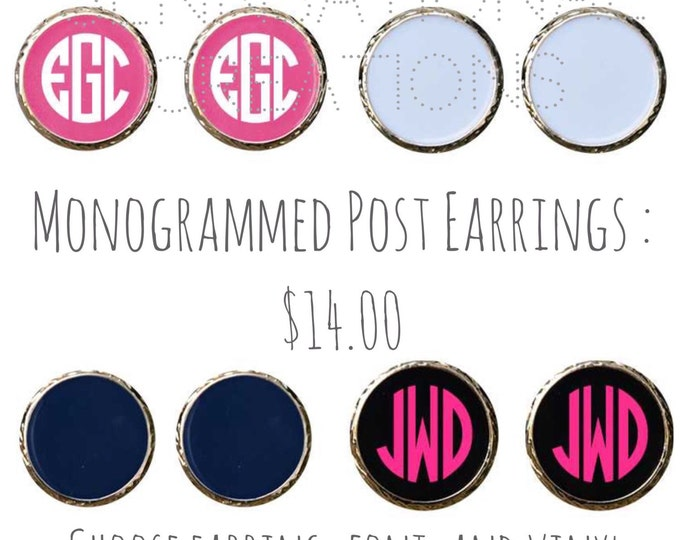 SALE:  Monogrammed Stud Earrings, Personalized Earrings, Monogrammed Gift For Girls, Earrings, Bridal Party Gifts