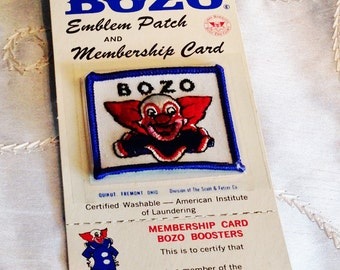 Vintage Bozo the Clown Patch and Membership Card New 1960s Collectibles by NorthCoastCottage Jewelry Design & Vintage Treasures