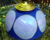 Colbalt blue and iridescent white hand painted swag lamp shade, mid-century hanging lamp shade,modern hand painted glass shade