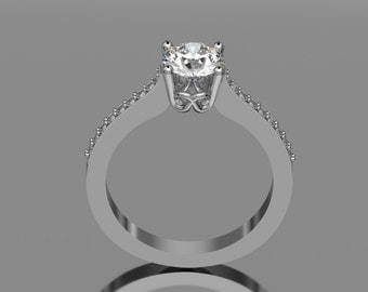 14KT White Gold Modern Contemporary Moissenite Wedding Ring with Accent Diamonds