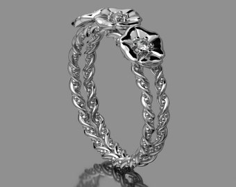 14KT  White Gold Three Flower Double band With Accent Diamonds