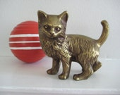 vintage brass cat / Korea - kitty cat - paperweight - desk decor - statue - figurine - brass sculpture - cat lover - collectible - brass art