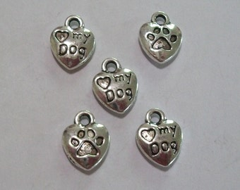 5 Pieces Antique Silver Love My Dog Paw Print Charms