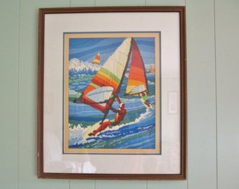 Wind surfer needlepoint embroidered tapastry, framed, Long stitch embroidery sailboat, water sports themed boys room, dorm decor orange blue