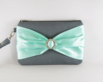 SUPER SALE - Gray with Mint Satin Bow Clutch - Rhinestone Bridal Clutch, Bridesmaid Wristlet, Wedding Gift, Zipper Pouch - Made To Order
