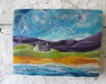 original felt painting, textile art, felt art, the beach house