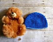 Baby Beanie Crochet Newborn Hat Blue with Light Blue Trim