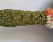 Iron Skillet Handle Cover Knit in Leaf Green Wool with Green and Orange Cotton Trim