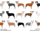 Pitbull dogs digital clip art for Personal and Commercial use - INSTANT DOWNLOAD