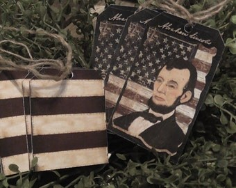 Primitive Abe Lincoln Flag Hang Tags (Set of 6) FREE SHIPPING