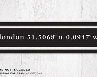 Custom Latitude Longitude Sign, Coordinates Sign, Home Coordinates, GPS Coordinates, 20 x 4.5, frame not included