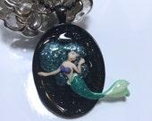 Blue Green Mermaid Oval Black Resin Glitter Pendant Necklace