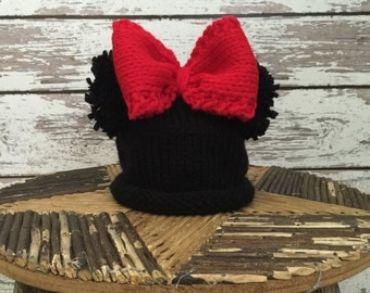 Children's knitting pattern, child's knitting pattern, Mickey and Minnie knitted hat pattern, Mickey or Minnie Inspired