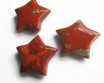30mm Brecciated Jasper Star, 1 (One) Gemstone Star, 1 1/4 inch Red Crystal Pocket Star, Metaphysical Supply, Root Sacral Chakra Stone, Reiki