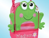 Lunchbox - Personalized and Embroidered - 2 Insulated Compartments - Lunch Pal - GIRL FROG