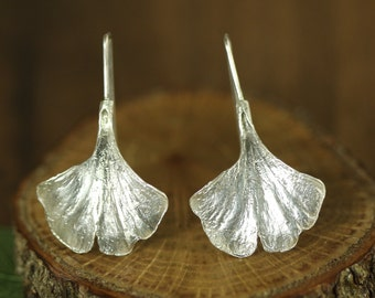 Sterling Silver Ginkgo Leaf Earrings, Ginko Earrings in Sterling Silver