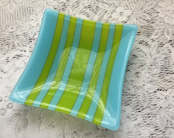 Fused Glass Dish, Cyan Blue Spring Green Square Art Glass Bowl, Blue Green Serving Dish - 100