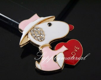 1PCS Bling Crystal LOVE Dog Flatback Alloy jewelry Accessories materials supplies