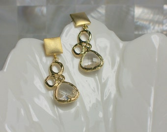 Post Earrings Dangle Gold Earrings Modern Jewelry Mixed Shapes Gift Idea Fashion Earrings Cubic Zirconia Earrings