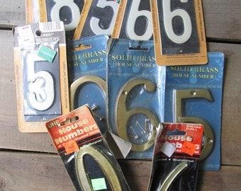 Vintage Numbers Lot NOS Metal Numbers Brass Aluminum Numbers
