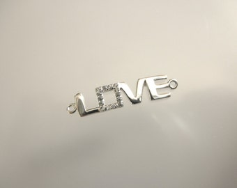 SALE - cz sterling silver LOVE connector - 925 solid sterling silver love - silver love pendant - CZ sterling connector