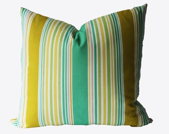 Decorative Outdoor Pillow Cover, Stripe, Chartreuse, Green, Yellow, 18x18, 20x20, 22x22 or Lumbar Throw Pillow